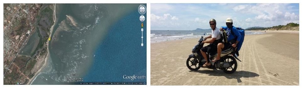 vista de la playa hacia la izquierda de la playa de Vietnam Vung-Tau