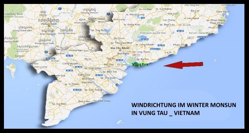 kitesurfen Onshore Windrichtung Vietnam Kiteschool Mui Ne www Kitesurfing lessons vietnam com im Januar