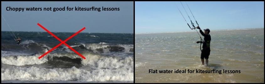 choppy waters not good for learning kitesurfing lessons