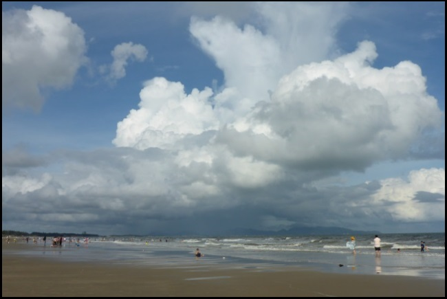 October in Vung Tau beach a rain shower is arriving meteorology and kitesurfing