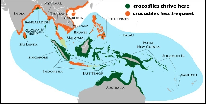 11 areas in which crocodiles live in Asia