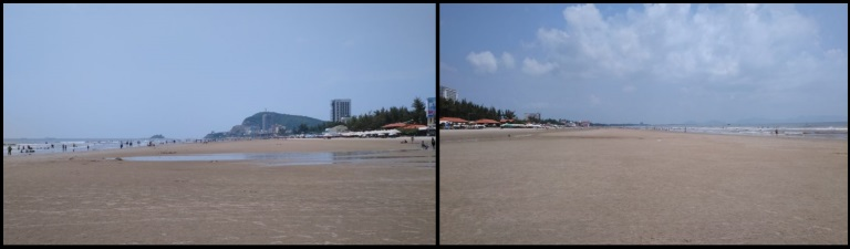 Vung Tau beach view towards right and left