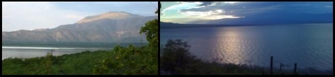 El lago y la isla al fondo amanece