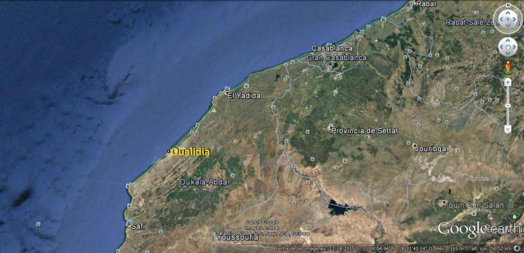mapa kitesurf en Marruecos