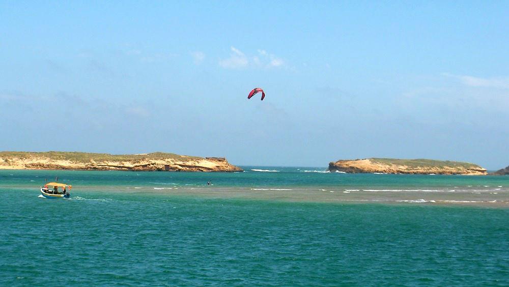 la entrada al lagoon Oualidia kitesurfing