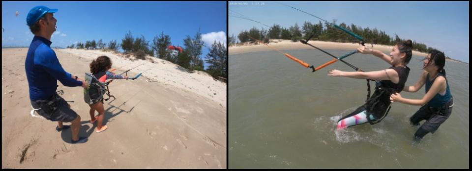 2 lướt ván diều ở thành phố Vũng Tàu