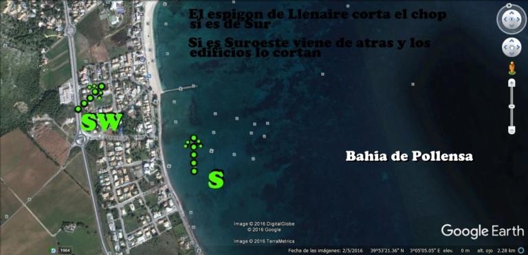 5 viento sur y mapa playa Alcudia